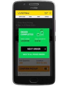 completed order screen. waerlinx for netsuite smartphone wms