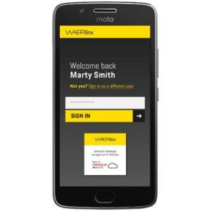welcome screen. waerlinx for netsuite  smartphone wms.